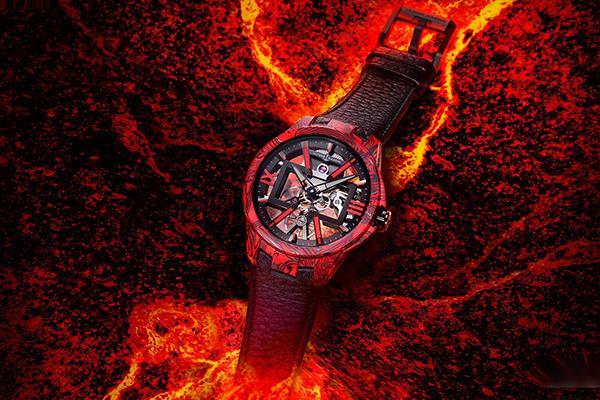 雅典碳纖維鏤空手表驚艷問世 火山迸發,巖漿四射