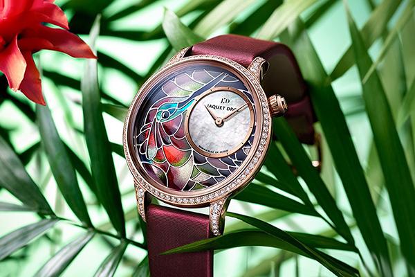 雅克德羅呈獻空窗琺瑯工藝杰作精雕蜂鳥手表