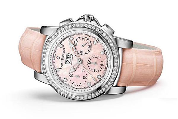 新款粉色宝齐莱柏拉維系列大表径日历型计时器手表